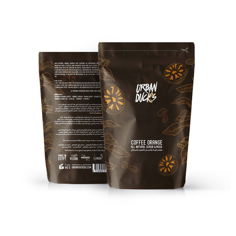 اسكراب وماسك القهوة والبرتقال للبشرة والجسم 180جرام - Urban Ducks - Glosscairo - Egypt